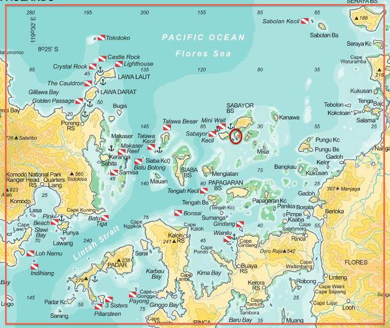 Mappa delle immersioni nel Parco di Komodo