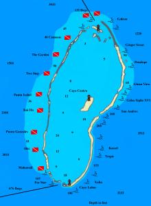 L'atollo di Chinchorro con indicati i siti d'immeriosione