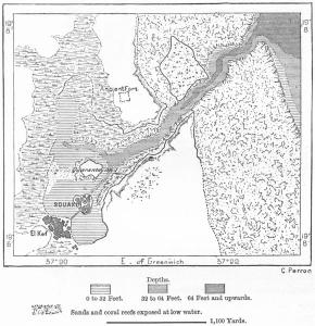 Mappa di Suakin del 1882. Si nota bene il canale di ingresso all'isola dove si trova la città