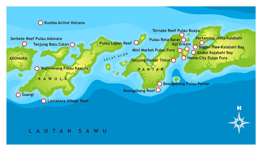 Mappa di Alor con i siti d'immersione
